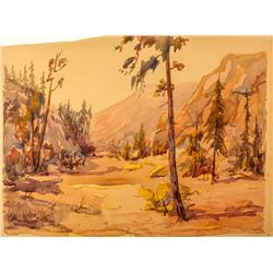 Carl Walline Original Western Watercolor