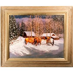 Horses in Snow Print by Jarusha