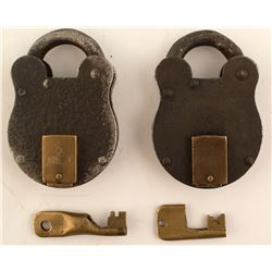 2 Antique Key Locks (with keys)