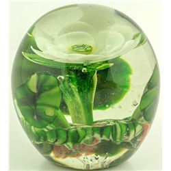 White and Green Flower Paperweight