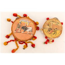 Two Vintage Tambourines--Bullfighter Images