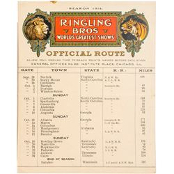 Rare 1914 Official Route (including railroads) of the Ringling Brothers Circus