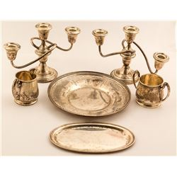 Silver Sugar and Creamer Cups with Tray and Silver Candlesticks