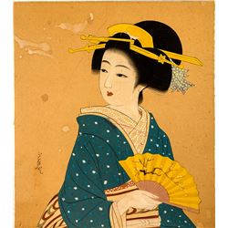 Original Japanese Painting of a Woman