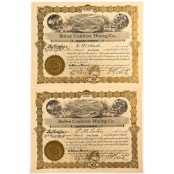 Two Bisbee Coalition Mining Co. Stock Certificates