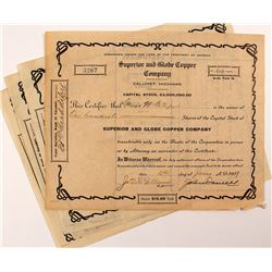 4 Superior and Globe Copper Company Stock Certificates