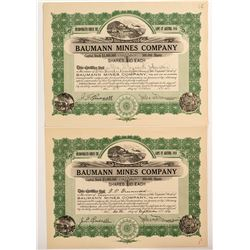 Two Baumann Mines Company Stock Certificates