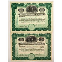 Two West United Verde Copper Company Stock Certificates