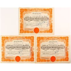 3 Cash Entry Mining Company Stock Certificates