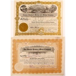 Two Different Oatman Mine Stock Certificates