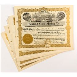 Richland Gold Mining Co. Stock Certificates (10)