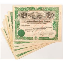 Sierra Consolidated Mining Company Stock Certificates (8)