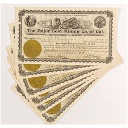 The Major Gold Mining Co. of California Stock Certificates (9)
