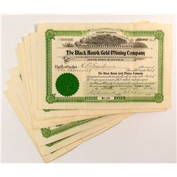 Nine Black Hawk Gold Mining Company Stock Certificates