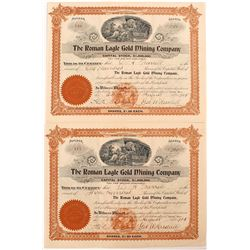 Roman Eagle Gold Mining Company Stock Certificate Pair
