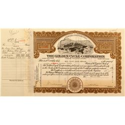 The Golden Cycle Corporation Stock Certificates (62)