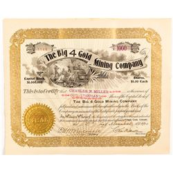 Two Big 4 Gold Mining Company Stock Certificates