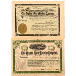 Two Different Orphan Gold Mining Company Stock Certificates