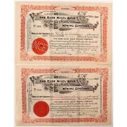 Two Rose Nicol Gold Mining Company Stock Certificates