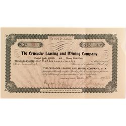 Crusader Leasing and Mining Company Stock Certificate