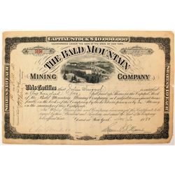 Bald Mountain Mining Company Stock Certificate (1880) (Leadville)