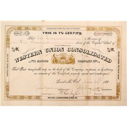 Western Union Consolidated Mining Company Stock Certificate (Leadville)