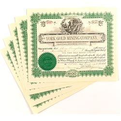 York Gold Mining Company Stock Certificates (5)