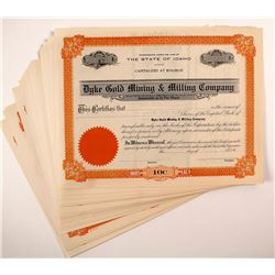 Dyke Gold Mining & Milling Company Stock Certificates