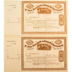 St. Louis Jacksonville & Chicago Railroad Company Stock Certificates
