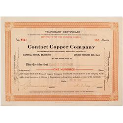 Contact Copper Company Stock Certificate