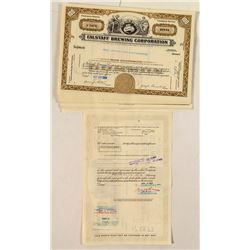29 Falstaff Brewing Corporation Stock Certificates