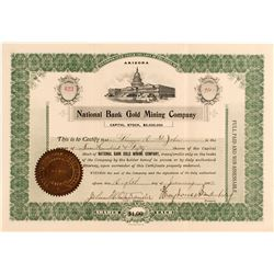 National Bank Gold Mining Company Stock Certificate