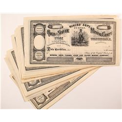 Miners' Hope Tunnel Gold & Silver Mining Co. Stock Certificates (24)
