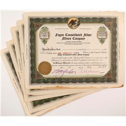Fagan Consolidated Silver Mines Company Stock Certificates (5)