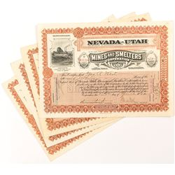 Nevada-Utah Mines and Smelters Corporation Stock Certificates (4)