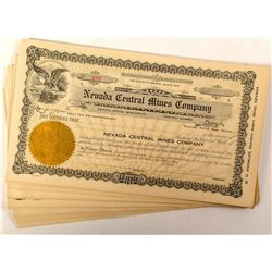 Group of 44 Nevada Central Mines Company Stock Certificates