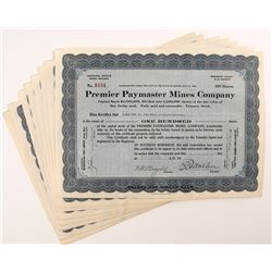 Premier Paymaster Mines Company Stock Certificates (9)