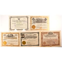 Five Different Tonopah Mining Stock Certificates