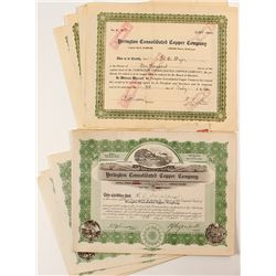 Yerington Consolidated Copper Company Stock Certificates (8)
