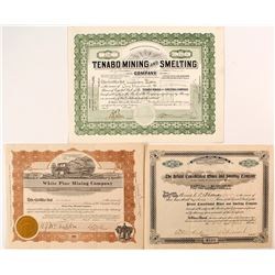 3 Different Nevada Mining Stock Certificates