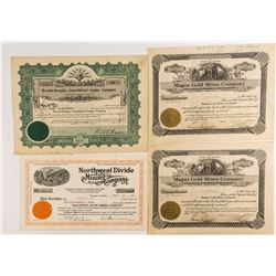 Four Nevada Mining Stock Certificates