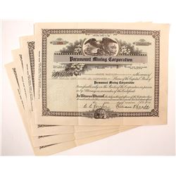 Paramount Mining Corporation Stock Certificates (4)