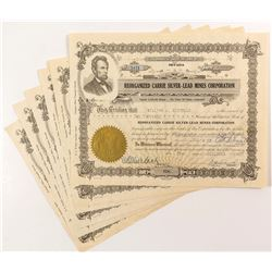 Reorganized Carrie Silver-Lead Mines Corporation Stock Certificates (6)