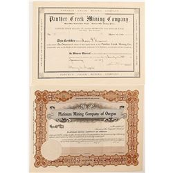 Platinum Mining Company of Oregon & Panther Creek Mining Company Stock Certificates