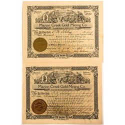 Two Marion Creek Gold Mining Co. Stock Certificates