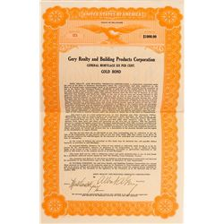 Gery Realty and Building Products Corporation Gold Bond with Revenue Stamps