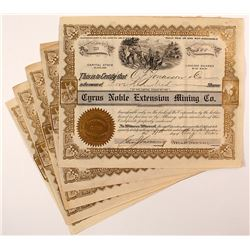 Cyrus Noble Extension Mining Co. Stock Certificates (5)