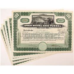 Utah Metal and Tunnel Company Stock Certificates (5)