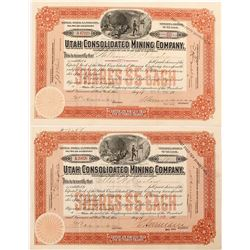 Two Utah Consolidated Mining Company Stock Certificates