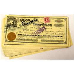 27 Grand Central Mining Company Stock Certificates